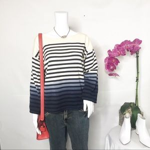 J Crew Stripe Cotton 3 Color Sweater Sz Medium